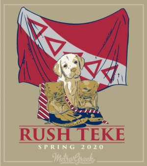 Teke Fraternity Rush Shirt Puppy and Flag