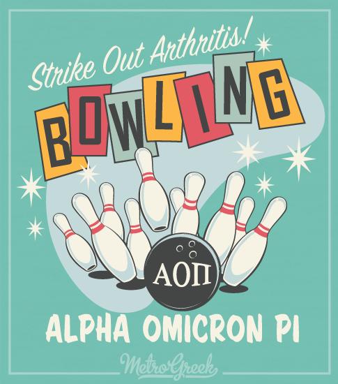 AOPi Strike Out Arthritis Bowling Shirt