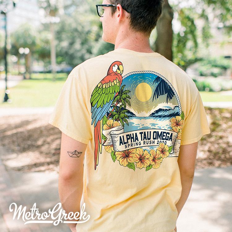 Alpha Tau Omega Rush Shirt Tropical Parrot