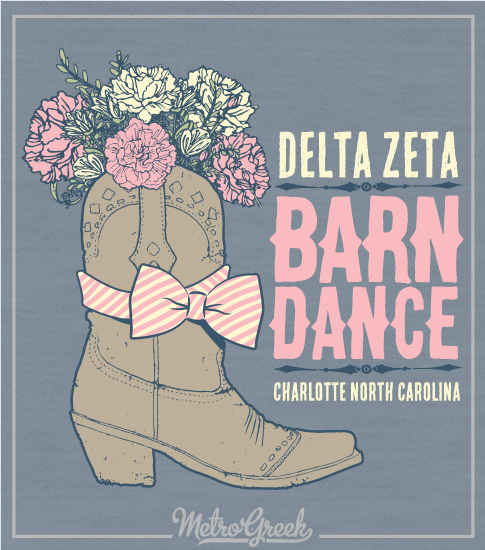 Delta Zeta Barn Dance Boots and Flower Shirt