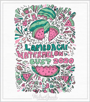 Lambda Chi Watermelon Bust Hand Drawn