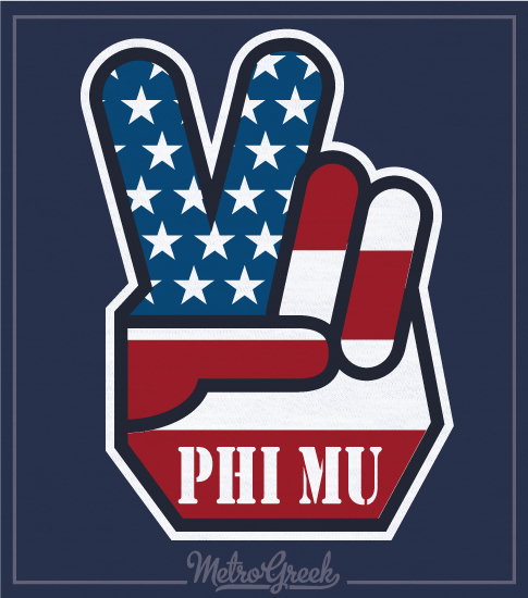 Phi Mu Flag Peace Sign Shirt
