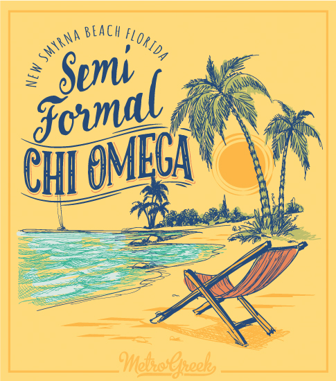 Chi Omega Formal Shirt Beach Scene