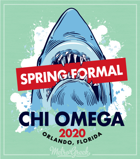 Chi Omega Spring Formal Shirt Shark