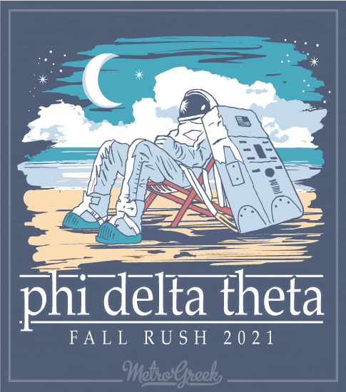 Phi Delta Rush Shirt Astronaut on the Beach